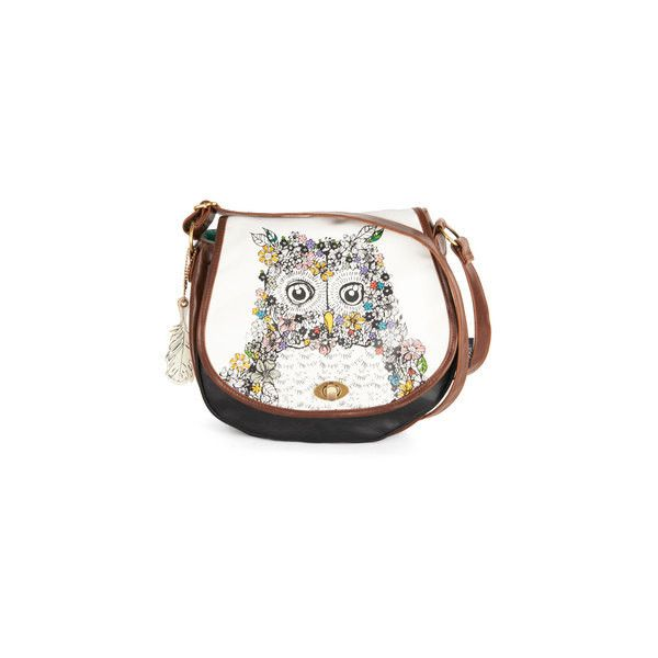 Once and Fleur Owl Bag (2.705 RUB) ❤ liked on Polyvore featuring bags, handbags, shoulder bags, boho, bolsas, cream, faux leather, folk art, owls and print with animals
