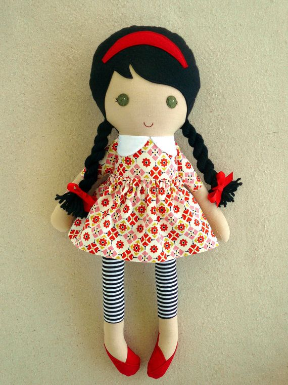 Reserved for Danielle - Fabric Doll Rag Doll Brown Haired Girl in Red Patterned Dress and Striped Leggings