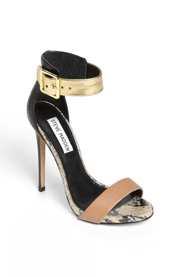 Steve Madden Gold & Animal Print Sandal