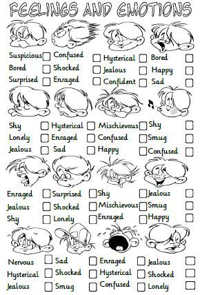 This is a multiple choice activity for teaching or revising feelings and emotions related vocabulary.  Students are asked to look at the picture and choose the correct option. - repinned by @PediaStaff – Please Visit  ht.ly/63sNt for all our pediatric therapy pins