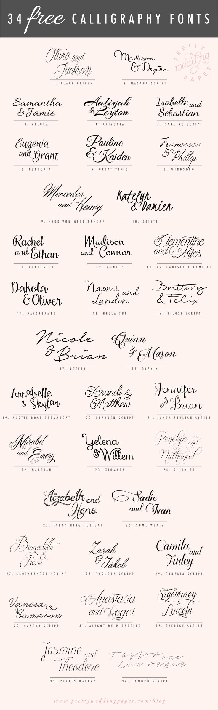 A follow-up to my post about amazing modern calligraphy fonts: here are 34 FREE calligraphic script fonts for hand-lettered, flowing wedding stationery! All the