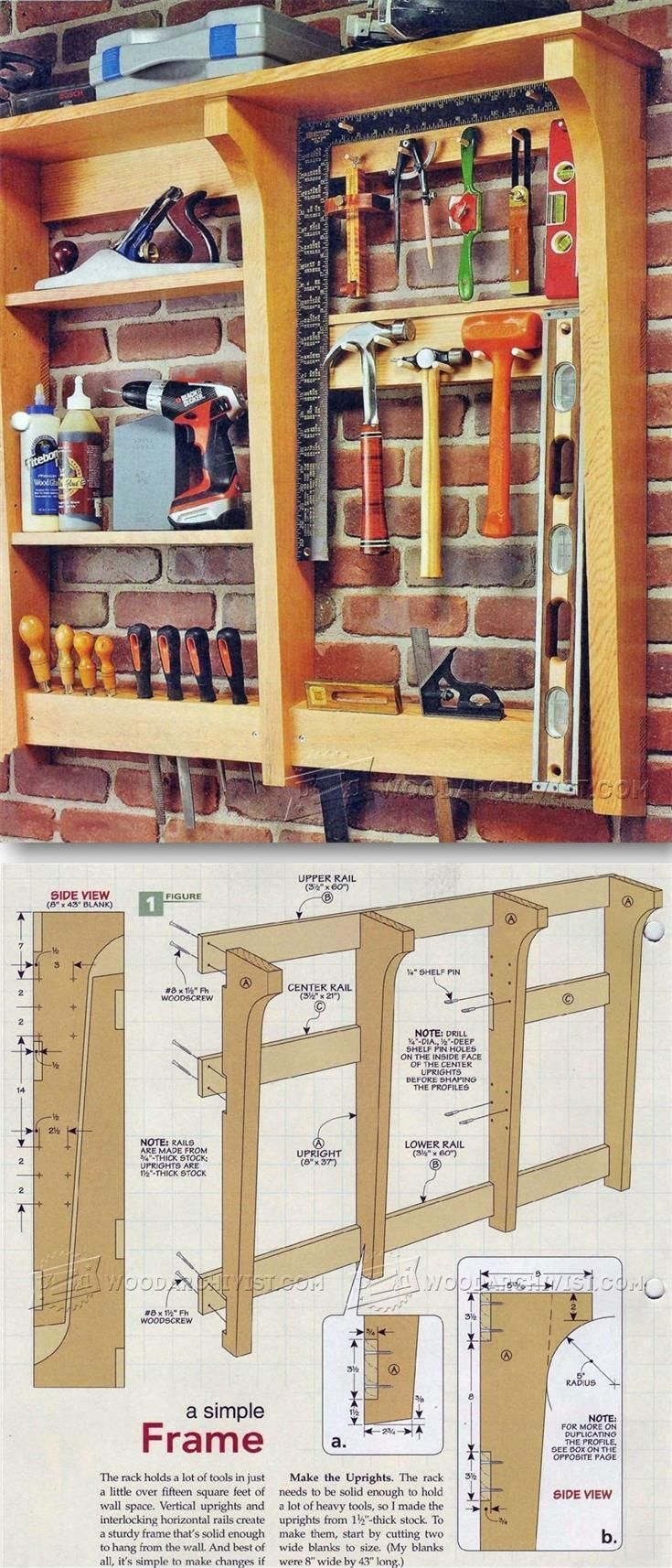 Wall Tool Rack Plans - Workshop Solutions Plans, Tips and Tricks | WoodArchivist.com #woodworkingbench