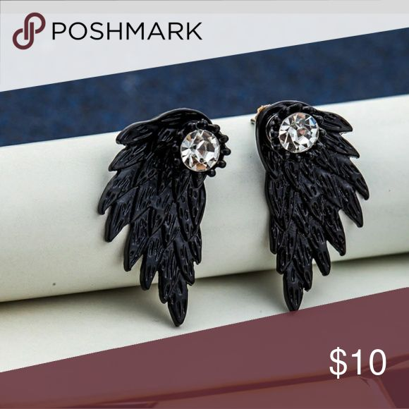 ANGEL WING EARRINGS BLACK ANGEL WING EARRINGS THE STUD GOES IN FRONT THE WINGS ARE THE BACKING PRICE FIRM UNLESS BUNDLED SORRY NO TRADES Jewelry Earrings