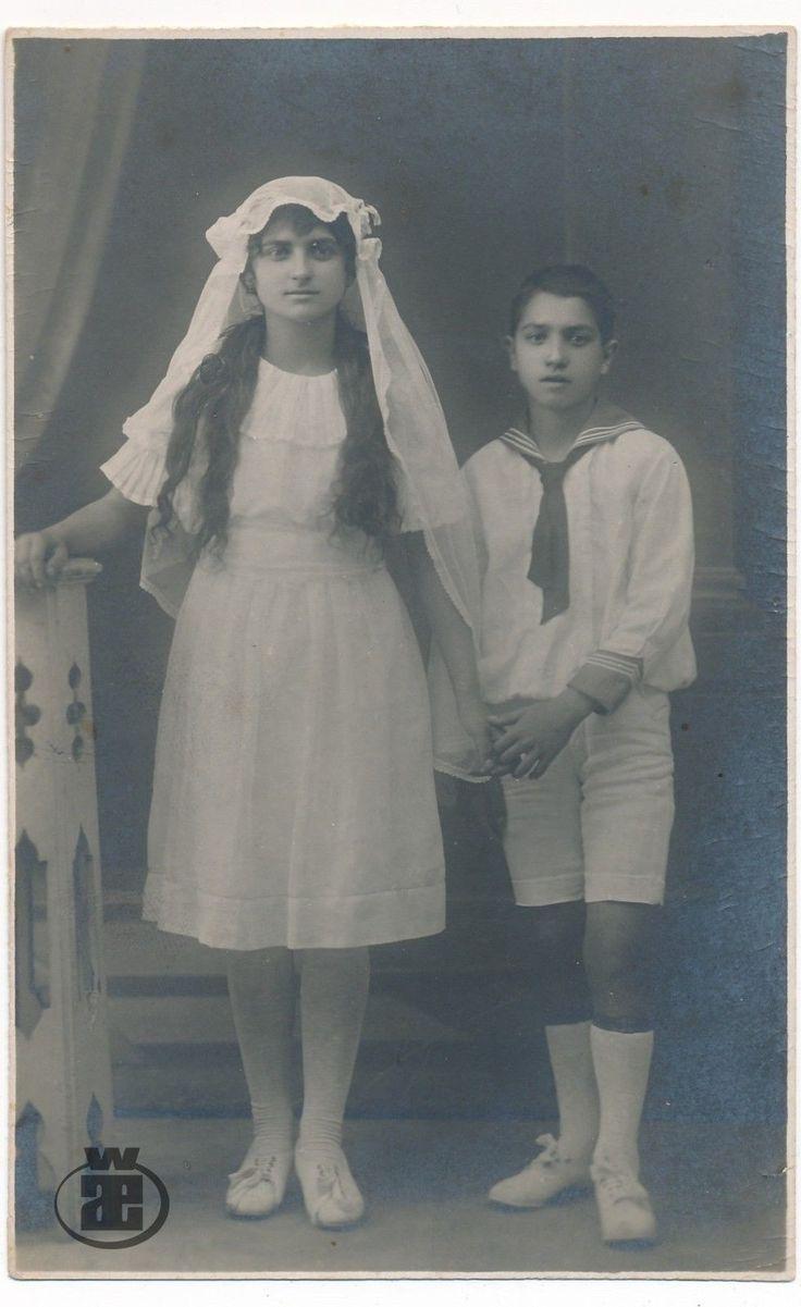 1921 первое причастие, мальчик, девочка, длинные волосы, дети, дети-старый оригинальное виртуал | eBay