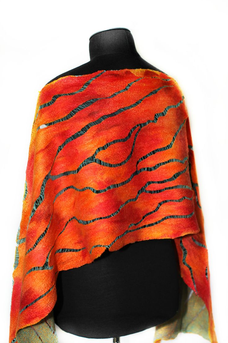 "https://flic.kr/p/w6c7ye   Nuno Felted Scarf   Superfine Australian merino wool, Mulberry silk, Cotton gauze fabric. Length 65 1/3"" (166 cm) Width 14"" (36 сm)"