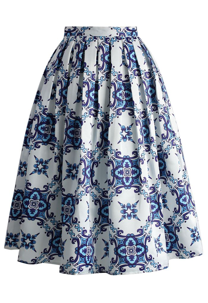 Blue Kaleidoscopic Pleated Midi Skirt - New Arrivals - Retro, Indie and Unique Fashion