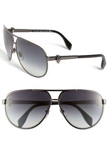 Alexander McQueen 65mm Skull Temple Metal Aviator Sunglasses available at #Nordstrom375