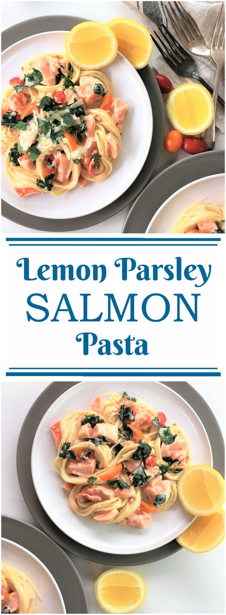 Lemon Parsley Salmon Pasta | chilli | chili | cream sauce | 20 minute dinner | angel hair pasta