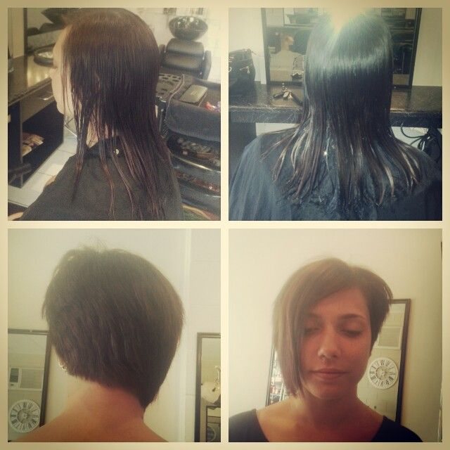 Past shoulder length hair to short Asymmetrical cut. Love the NEW look