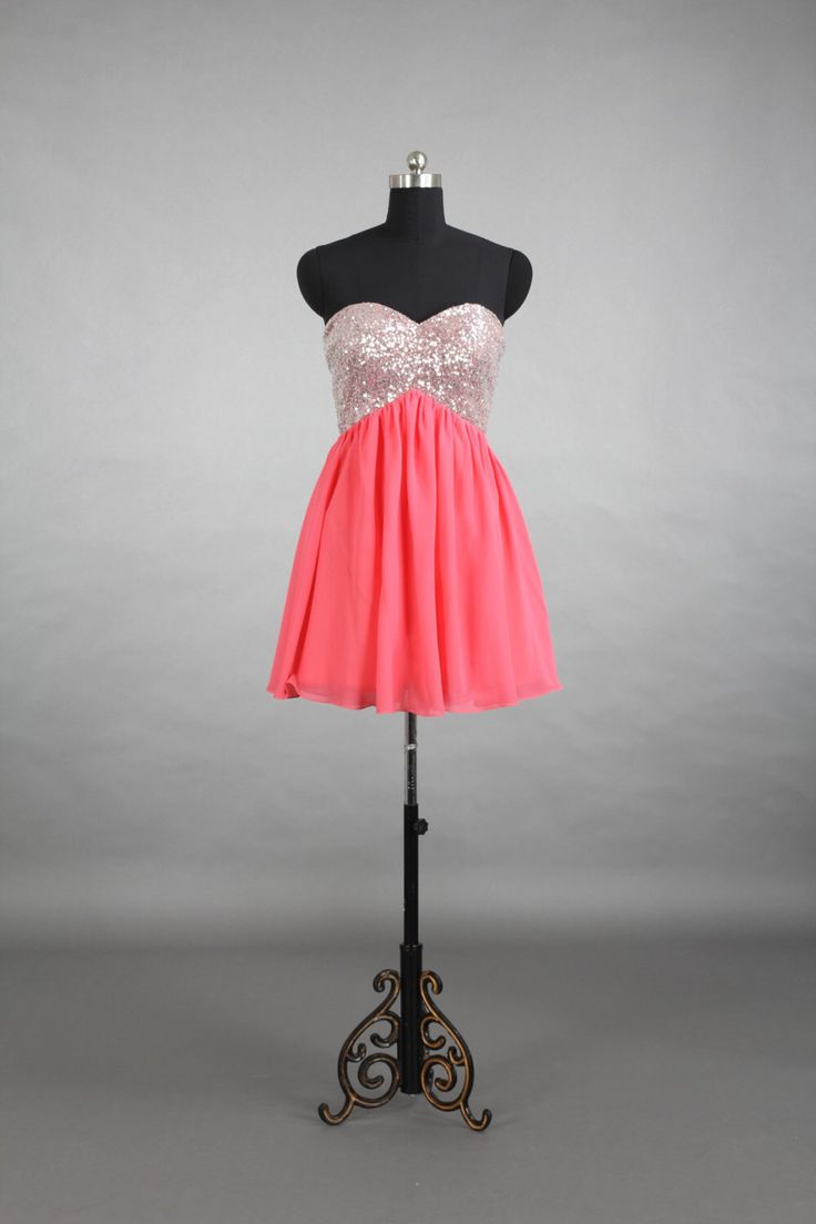 Sweetheart Beading Short Chiffon Homecoming Dress, Coral Homecoming Dress, Formal Gown, Wedding Party Dress, Graduation Dress by harsuccthing on Etsy https://www.etsy.com/listing/197595734/sweetheart-beading-short-chiffon