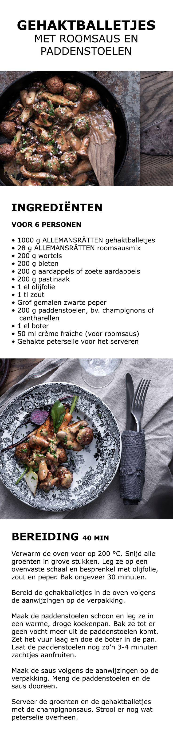 Inspiratie voor de feestdagen - Gehaktballetjes met roomsaus en paddenstoelen | IKEA IKEAnederland koken keuken recept herfst winter kerst diner lunch wortel bieten aardappel