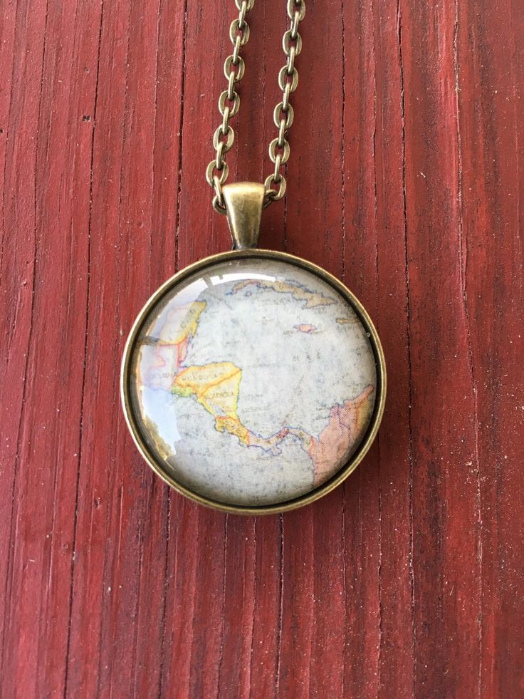 North America Map Quiz Physical Features%0A Globe Necklace Latin America Map World Travel Wanderlust Gift for Traveler  Earth Nation by IndustrialWhimsy on