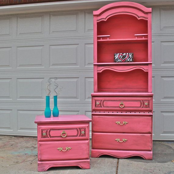 Pink Dresser Hutch Distressed Shabby Chic Upcycled