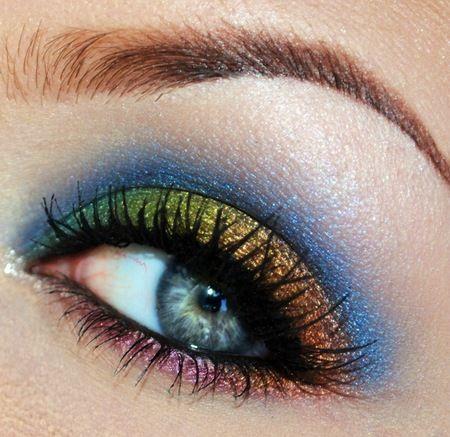 rainbow eye shadow :)Colors Combos, Make Up, Rainbows Dash, Eye Shadows, Rainbows Eyeshadows, Beautiful, Blue Eye Makeup, Makeup Eye, Eyemakeup