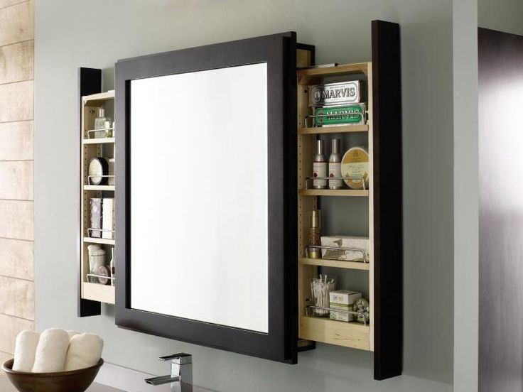 bathroom mirror with space-maximizing side pull-out shelves
