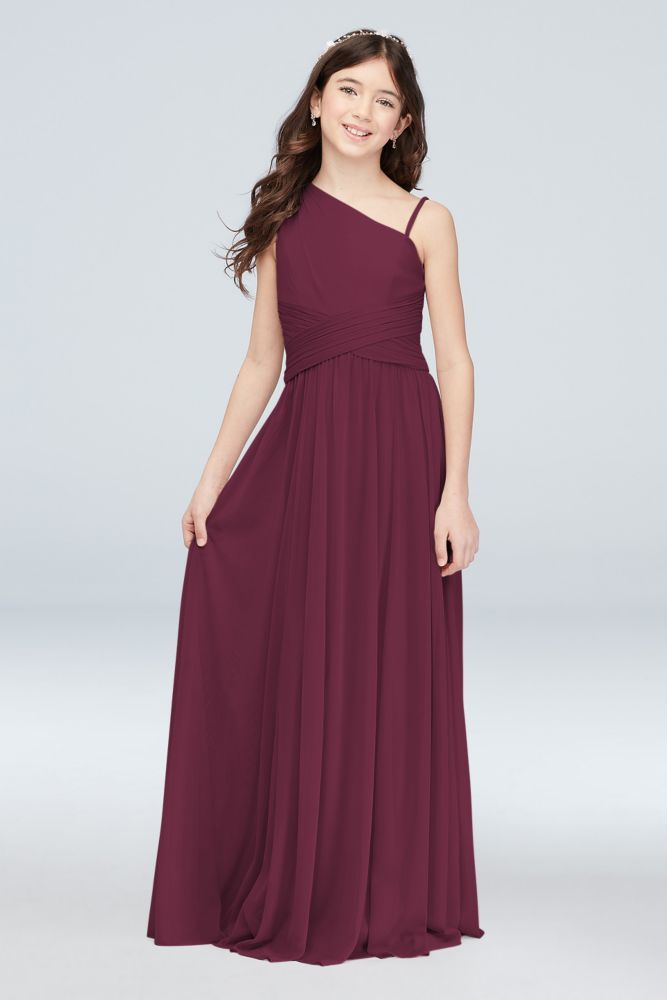 One Shoulder Mesh Junior Bridesmaid Dress Style JB9892,