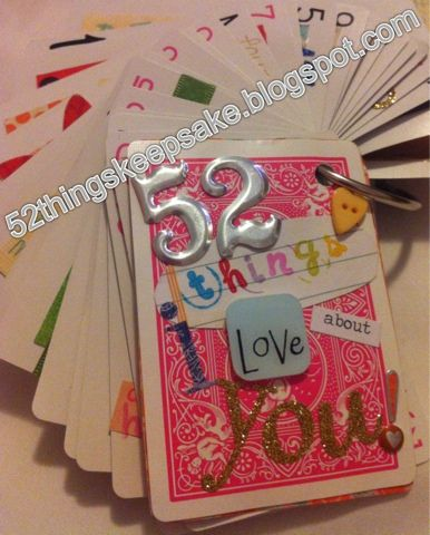 52 Things I Love About You Keepsake! Simple, cute deck of cards gift for boyfriend! Must Do!