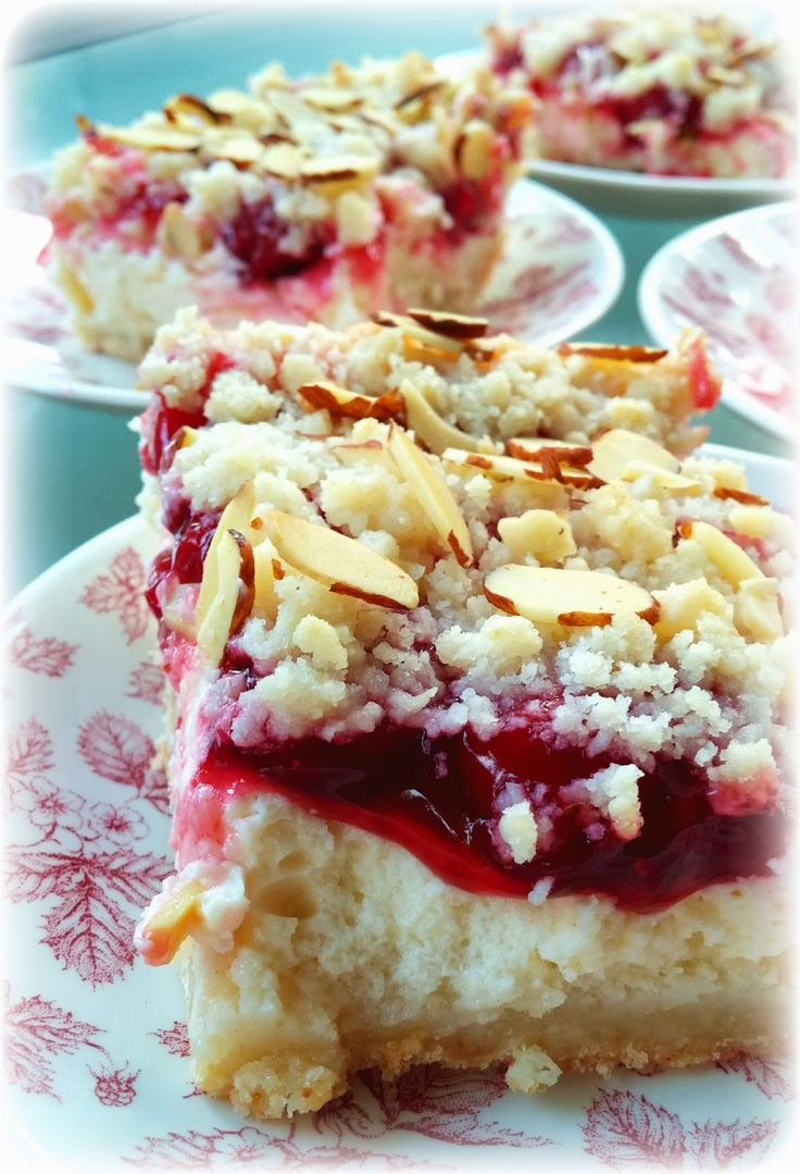 My Frilly Apron: Almond Streusel Cherry Cheesecake Bars
