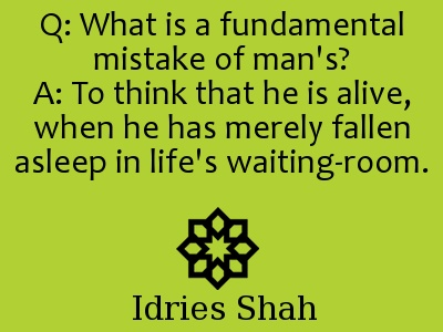 Q: What is a fundamental mistake of man's?  A: To think that he is alive, when he has merely fallen asleep in life's waiting-room. - Idries Shah, Seeker After Truth, page 33.