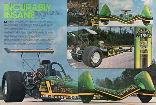 1975 Great Centerfold Pic of Asher Flurer's Jade Grenade Top Fuel Dragster | eBay