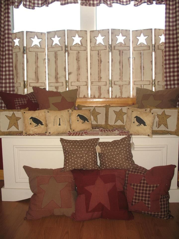 Warm up your home with Homespun Handmade Primitive Pillows, featuring Stars, Crows, Sheep, and Willow trees all stitched together in warm inviting and appealing colours! Prices vary.