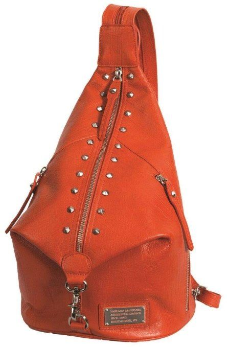 #Harley-Davidson® Women's All Bark Orange Leather #Sling_Backpack. Purse. 11 1/2 x 14 1/2 x 3 1/2-Inches. AB7722L-ORG: ://www.wearharleydavidson.com/shop-Harley-Davidson-girls-sexy-lingerie-and-accessories.html