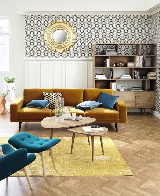 Le canap en velours moutarde clark de maisons du monde inspiration shopping par c t maison - Canape d hoek converteerbare maison du monde ...
