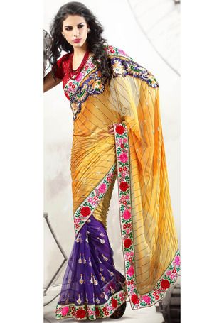 Utsav Fashion : yellow-and-violet-faux-georgette-and-net-half-half-saree-with-blouse