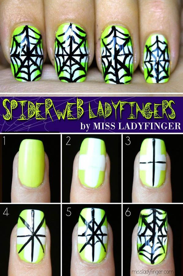 Spider web nails. Great idea for when Halloween comes around!