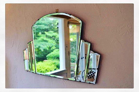 Art Deco mirror fan shaped mirror frameless mirror wall mirror antique mirror large mirror vanity mirror modern mirror entry way mirror farm