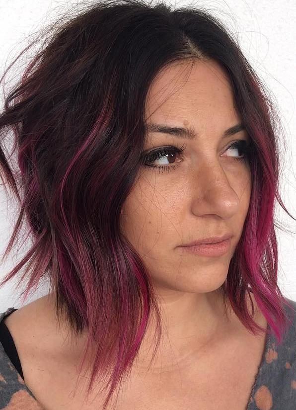 Choppy+Brown+Bob+With+Pink+Balayage
