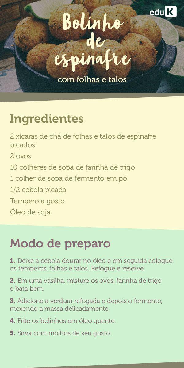 Um bolinho de espinafre é sempre uma boa pedida, não é mesmo? Então coloque mais a folha em sua dieta, acesse eduK para mais receitas deliciosas!