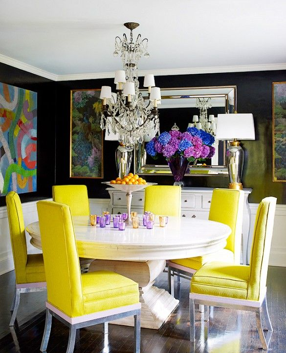 Dining Room With Yellow Dining Chairs and Abstract Art