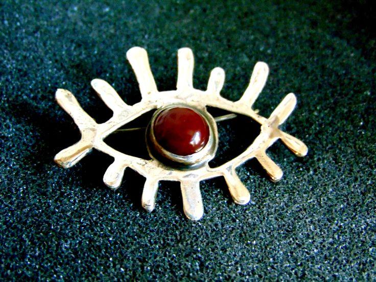 Beautiful sterling silver and carnelian brooch- Sterling silver eye brooch-Gemstone women's brooch-Artisan jewelry-Greek art by ArchipelagosBreeze on Etsy