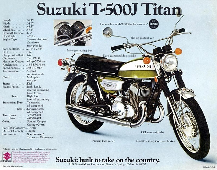 52 best suzuki t500 parts images on Pinterest | Biking, Motors and ...