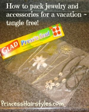 Genius! Press and seal your jewelry into place so it doesn't get tangled on a trip like in a ziplock/make-up bag.