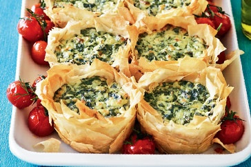 Spinach & cheese filo pies -open pies, could a layer of almonds protect the surface instead