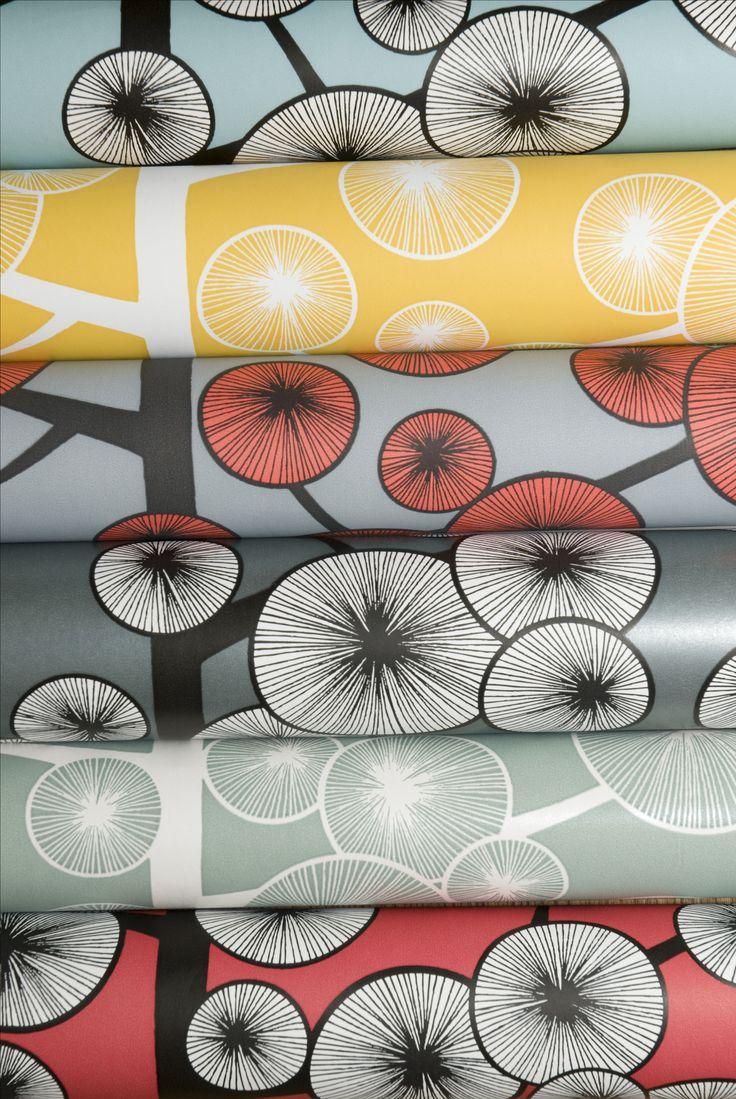 Cotton Tree Wallpaper in an arrangement of colours