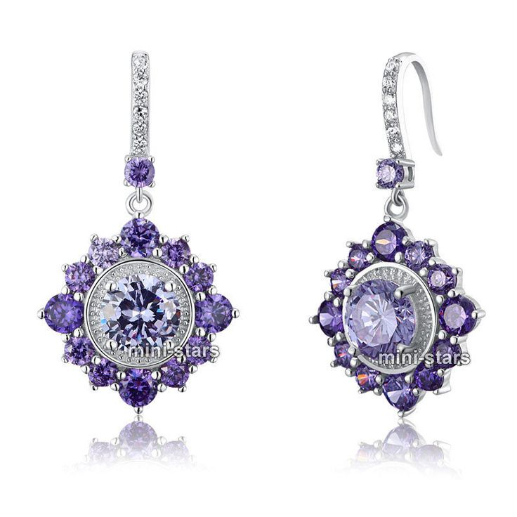 925 Sterling Silver 3 ct Simulated Purple Sapphire Dangle Bridal Earrings FE8043 #DropDangle