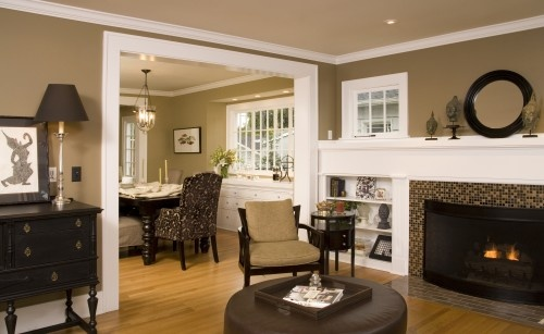 living room / dining room: Dining Rooms, Color Schemes, Built In, Wall Color, White Trim, Paintings Color, Traditional Living Rooms, Fireplace, Rooms Color