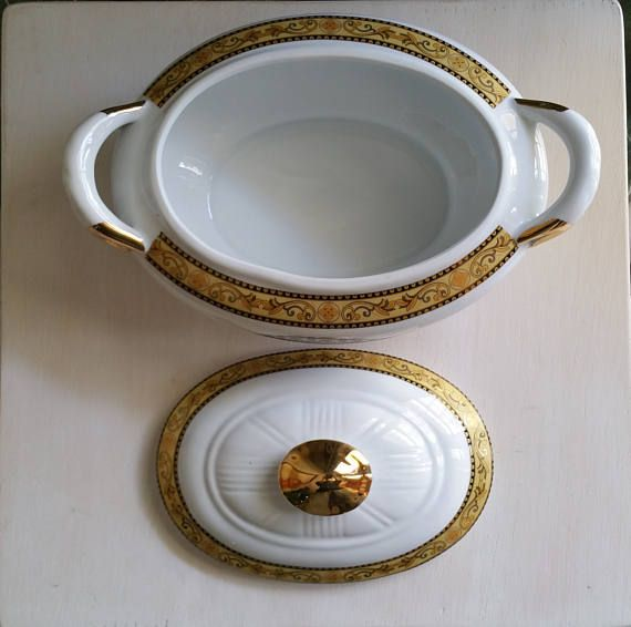 Zuppiera Vintage in porcellana Bella Epoque Servizio da tavola