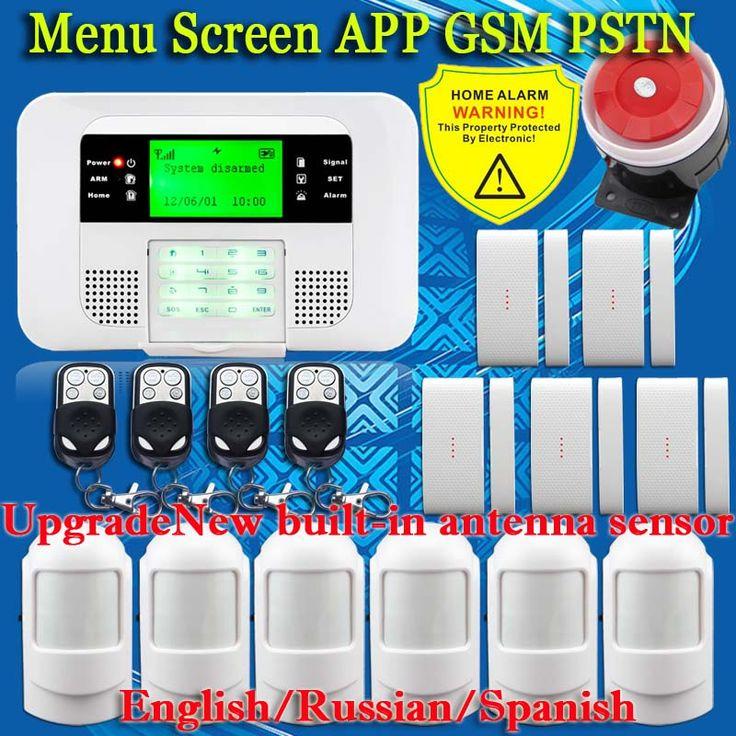 スマートappメニュー液晶ワイヤレス433 mhz sms pstn gsmデュアルネットワークホームオートメーションキット盗難セキュリティ検出器センサーアラームシステム