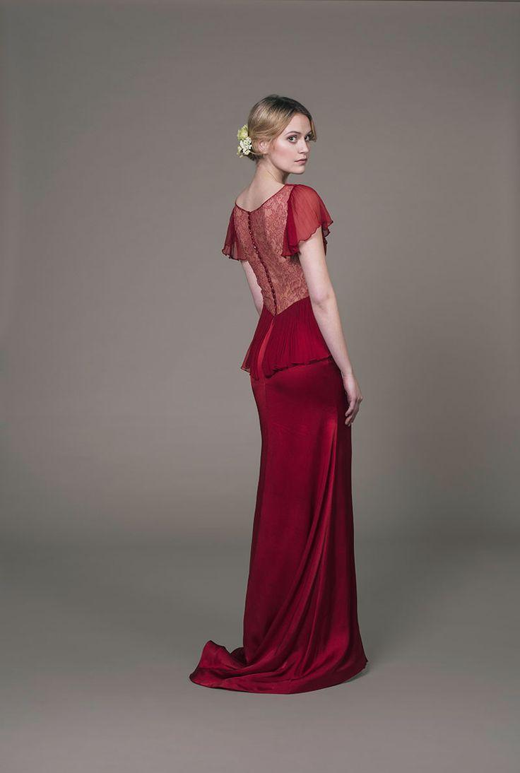 Aurelia-scarlet evening gown- Romantic eco-friendly  red lace dress with a lace back by award-winning bridal designer Sanyukta Shrestha.