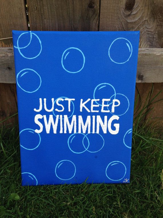 "Just Keep Swimming- Finding Nemo Canvas 9""x12""                                                                                                                                                                                 More"