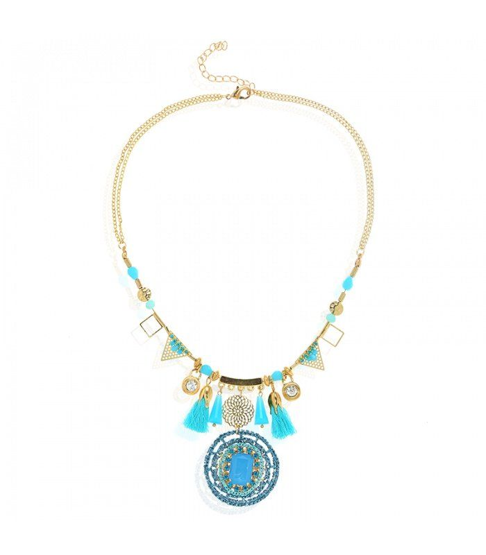 Blauwe korte halsketting met kwastjes en bedels|Halsketting met een mooie stenen hanger | Yehwang fashion en sieraden