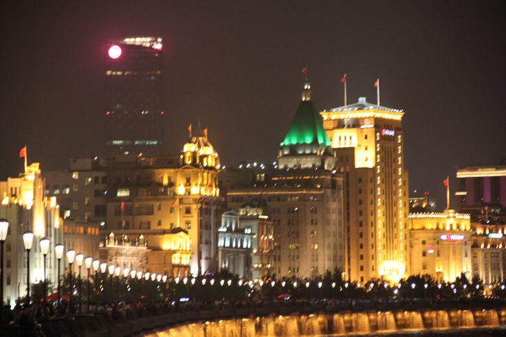 Night lights on the Bund,The wall and old colonial part of the city