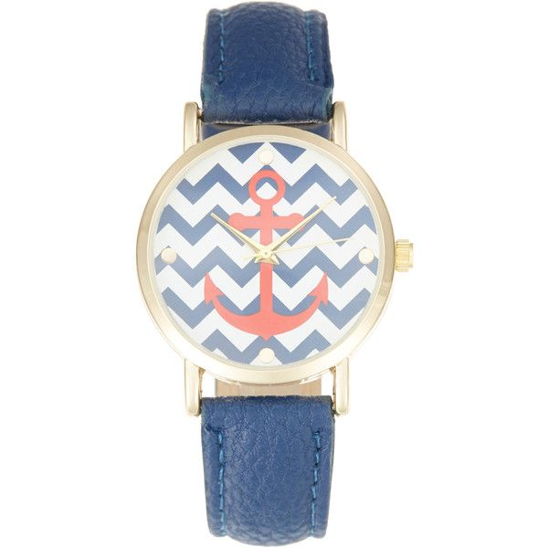 Olivia Pratt Watches Women's Chevron Anchor Watch, 41mm ($49) ❤ liked on Polyvore featuring jewelry, watches, chevron watches, leather-strap watches, leather strap watches, anchor jewelry and analog wrist watch