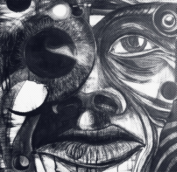 Daryn Mcbride - Self Portrait, Indian ink and white pencil.