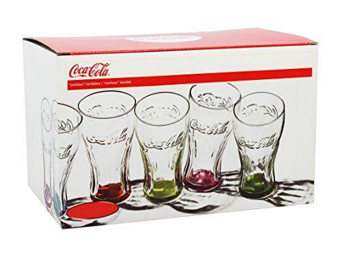 Novastyl 8013845.0 Lot de 6 Gobelets Forme Haute de Contenance Verre Multicolore 24,5 x 16,5 x 15,2 cm 30 cl: La forme mythique Coca Cola…