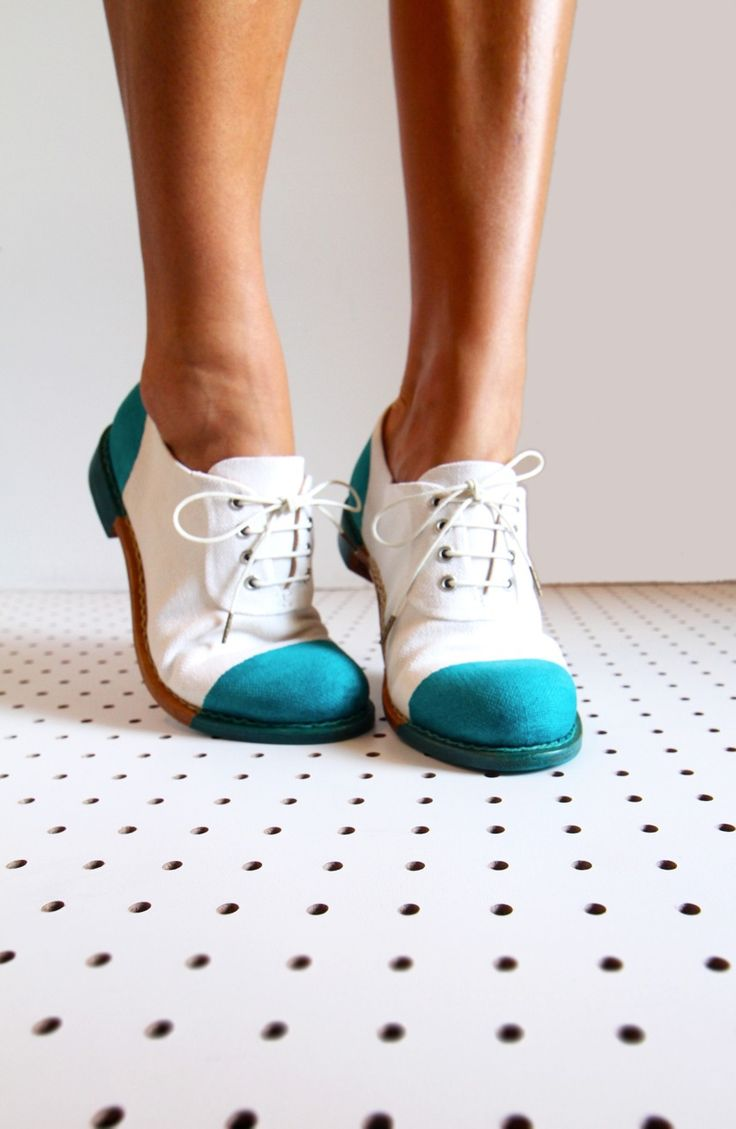 Blue and white oxfords.
